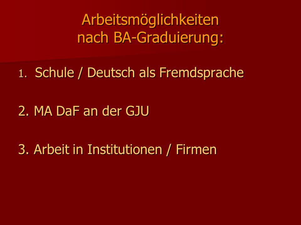 Arbeitsmöglichkeiten nach BA-Graduierung: