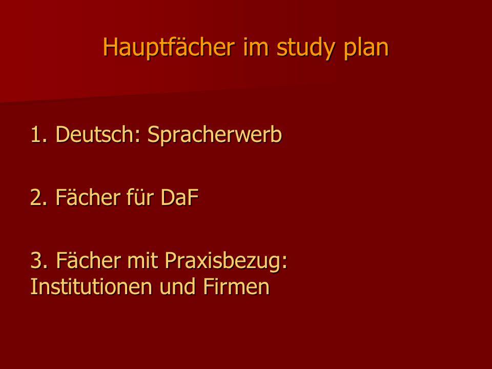 Hauptfächer im study plan