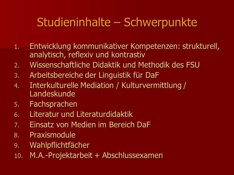 Studieninhalte – Schwerpunkte
