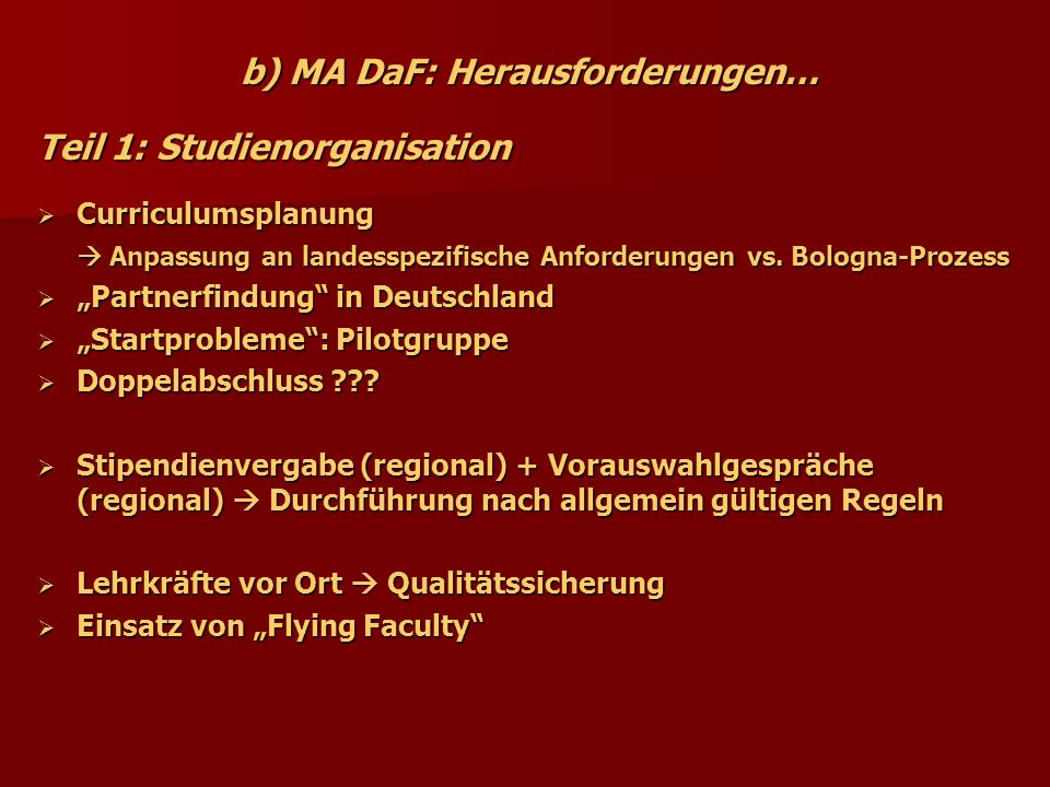 b) MA DaF: Herausforderungen…