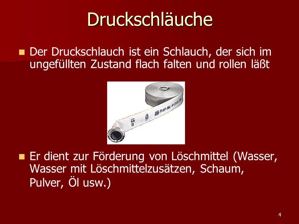 Druckschläuche Der Druckschlauch ist ein Schlauch, der sich im ungefüllten Zustand flach falten und rollen läßt.
