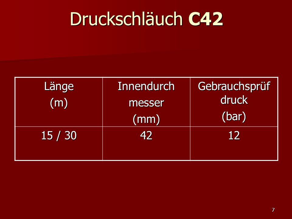 Druckschläuch C42 Länge (m) Innendurch messer (mm) Gebrauchsprüf druck