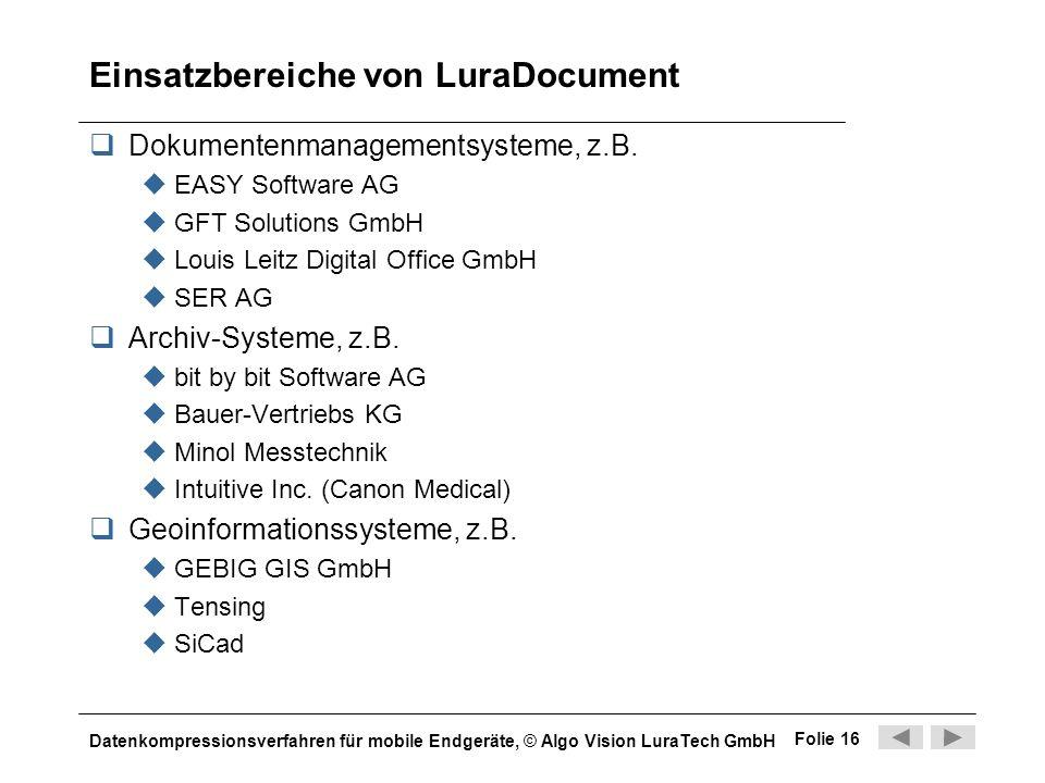 Einsatzbereiche von LuraDocument