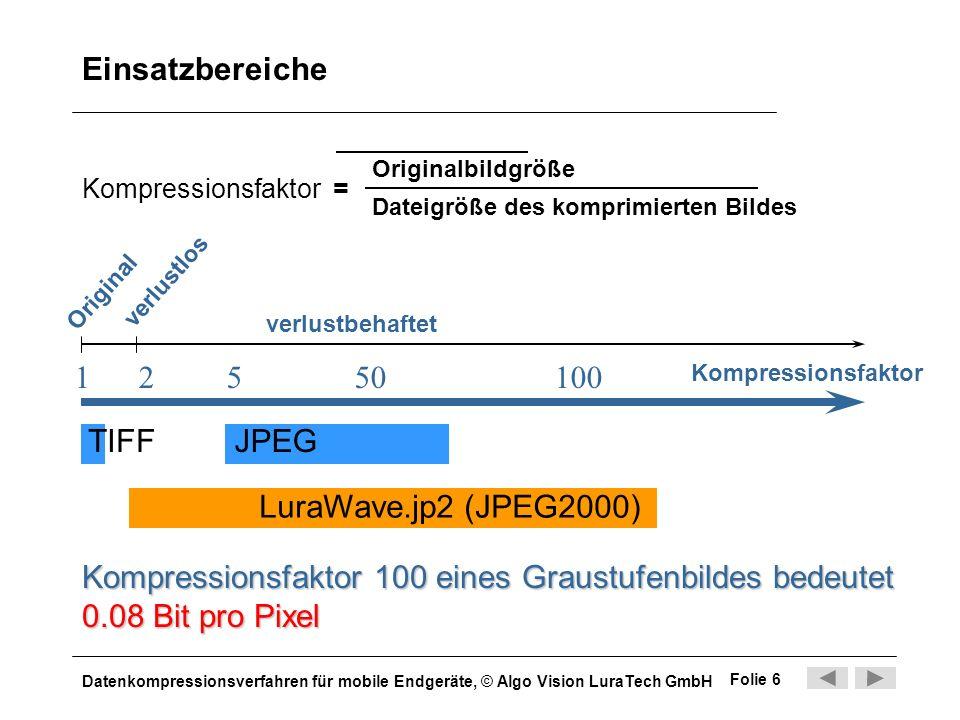 Einsatzbereiche 1 2 5 50 100 TIFF JPEG LuraWave.jp2 (JPEG2000)