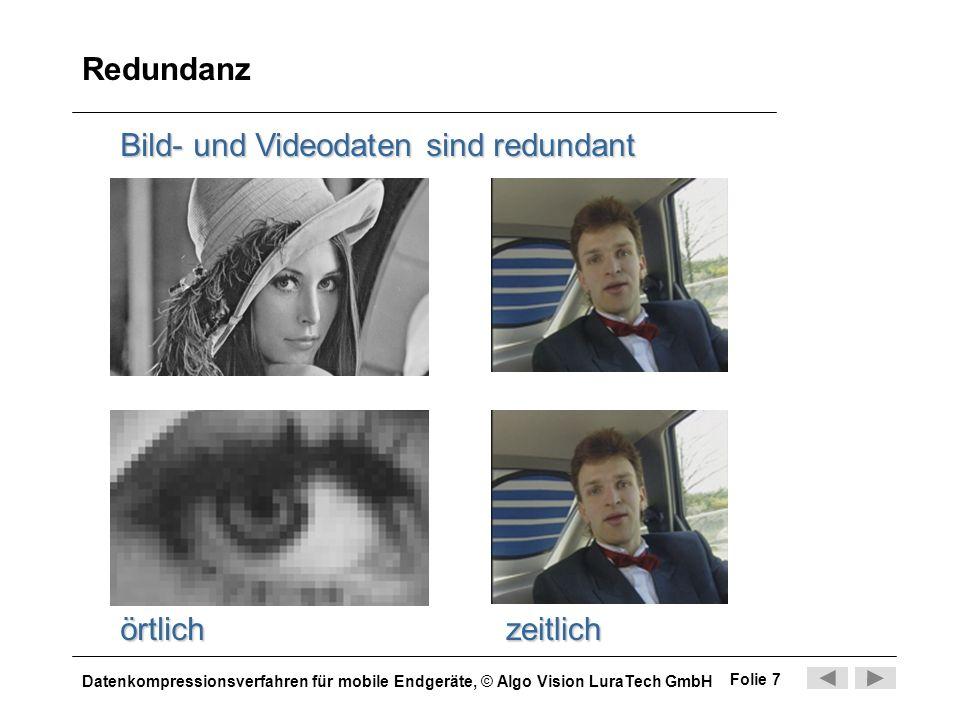 Redundanz Bild- und Videodaten sind redundant örtlich zeitlich