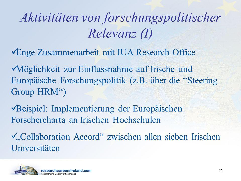 Aktivitäten von forschungspolitischer Relevanz (I)