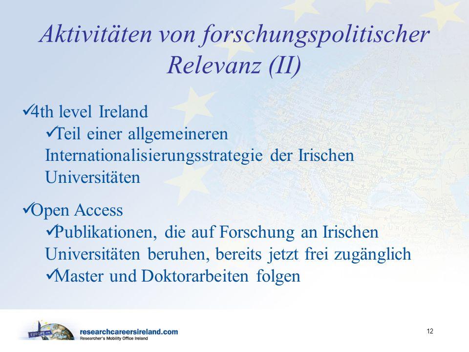 Aktivitäten von forschungspolitischer Relevanz (II)
