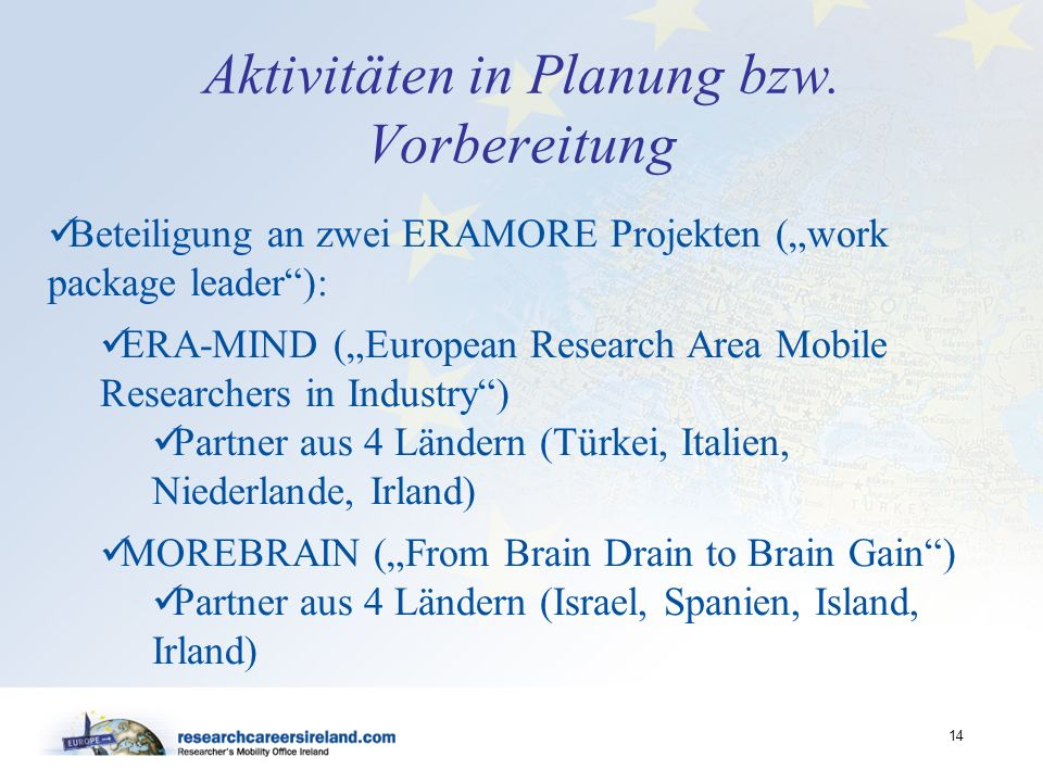 Aktivitäten in Planung bzw. Vorbereitung