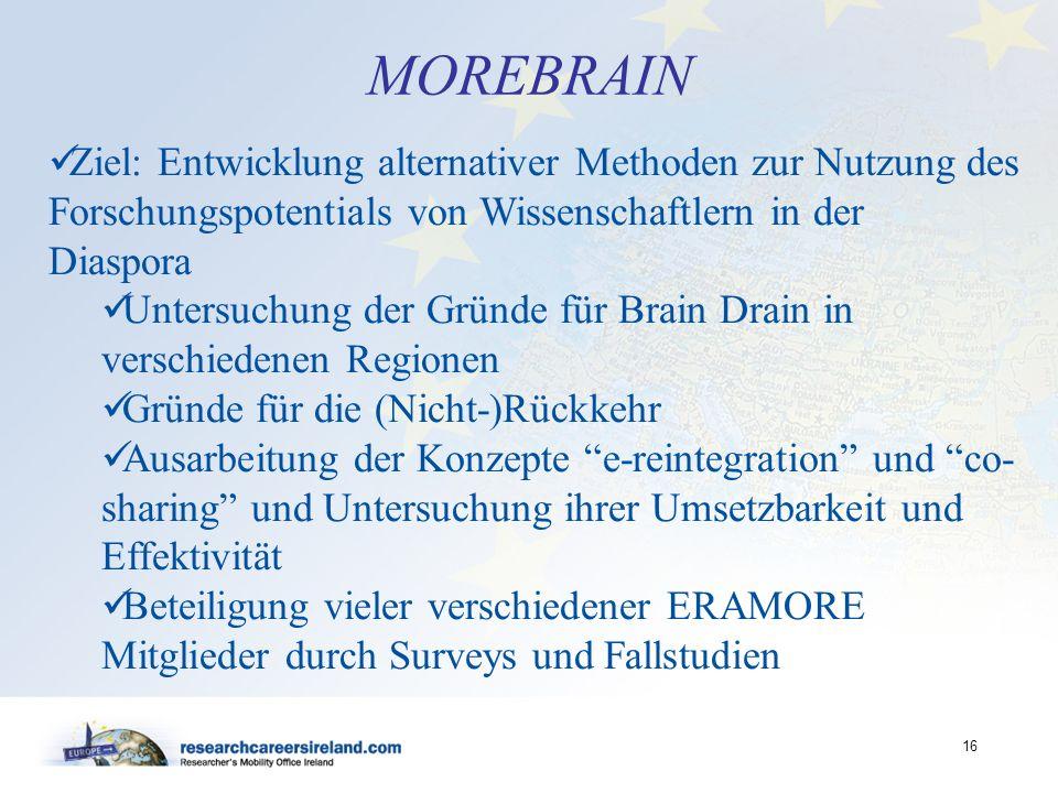 MOREBRAINZiel: Entwicklung alternativer Methoden zur Nutzung des Forschungspotentials von Wissenschaftlern in der Diaspora.