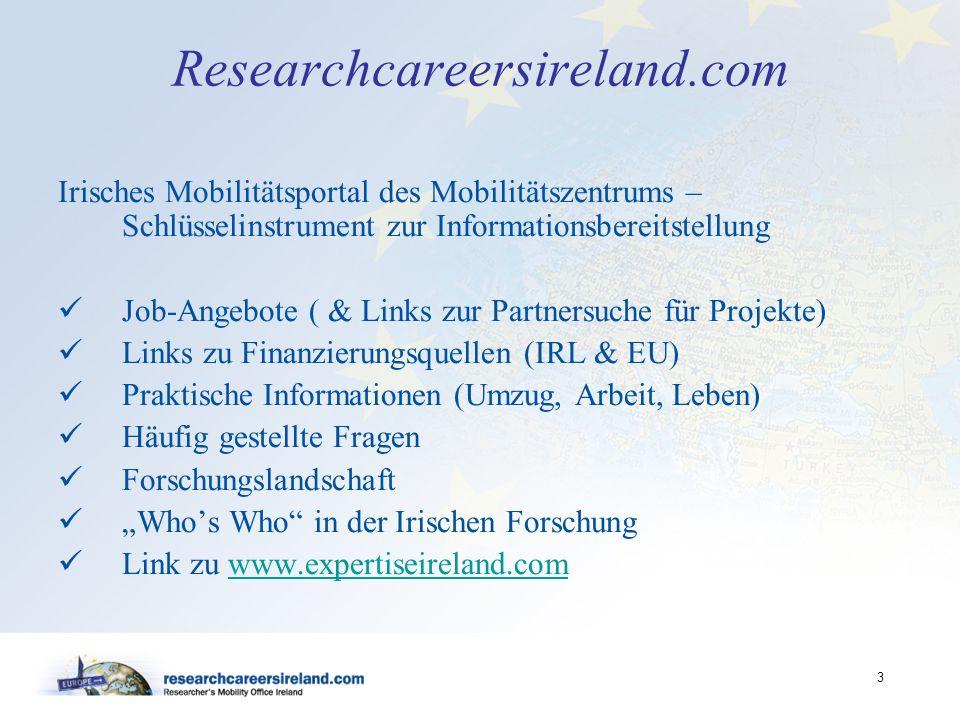 Researchcareersireland.com Irisches Mobilitätsportal des Mobilitätszentrums – Schlüsselinstrument zur Informationsbereitstellung.