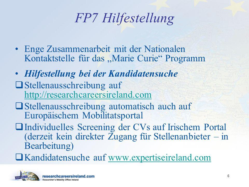 """FP7 Hilfestellung Enge Zusammenarbeit mit der Nationalen Kontaktstelle für das """"Marie Curie Programm."""