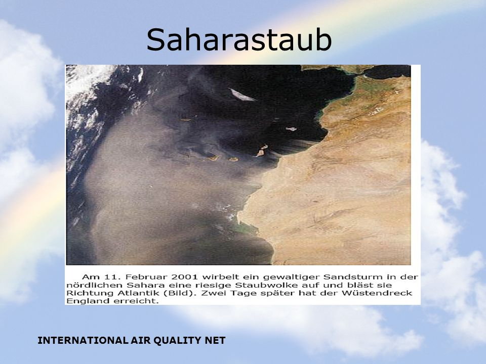 Saharastaub INTERNATIONAL AIR QUALITY NET