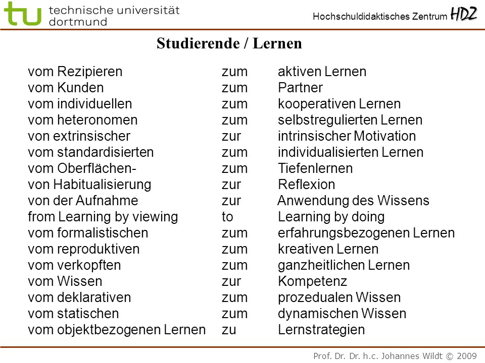 Studierende / Lernen vom Rezipieren zum aktiven Lernen