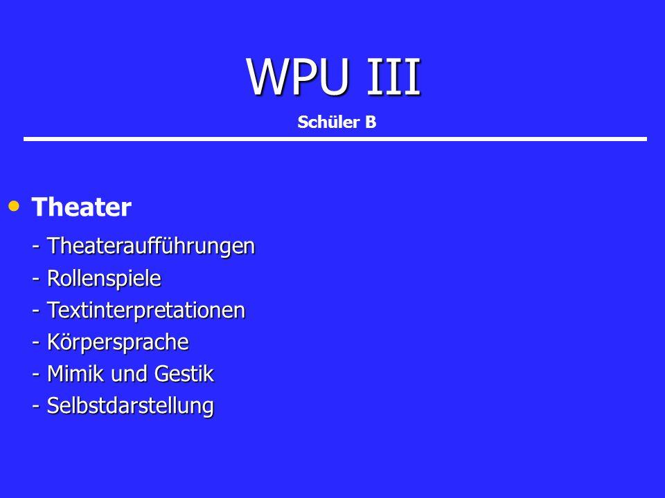 WPU III Theater - Theateraufführungen - Rollenspiele