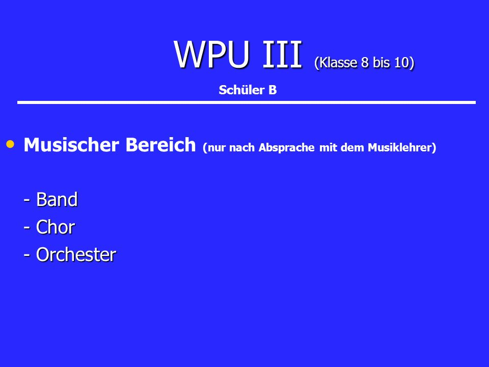 WPU III (Klasse 8 bis 10) Schüler B. Musischer Bereich (nur nach Absprache mit dem Musiklehrer) - Band.