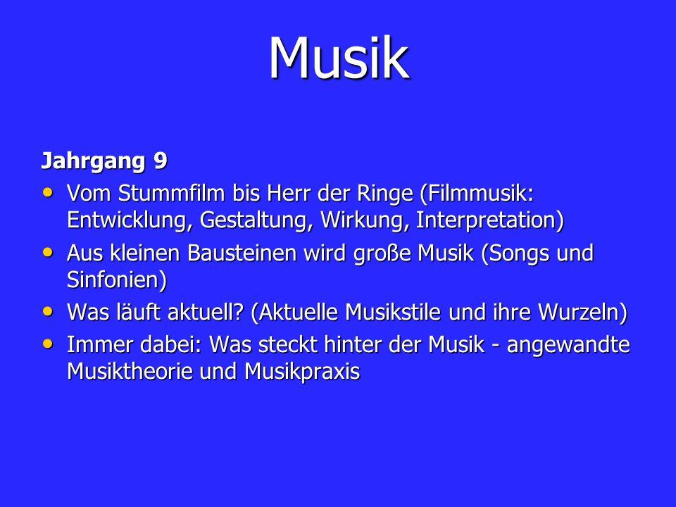 MusikJahrgang 9. Vom Stummfilm bis Herr der Ringe (Filmmusik: Entwicklung, Gestaltung, Wirkung, Interpretation)