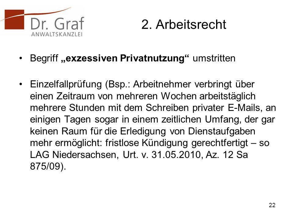 """2. Arbeitsrecht Begriff """"exzessiven Privatnutzung umstritten"""
