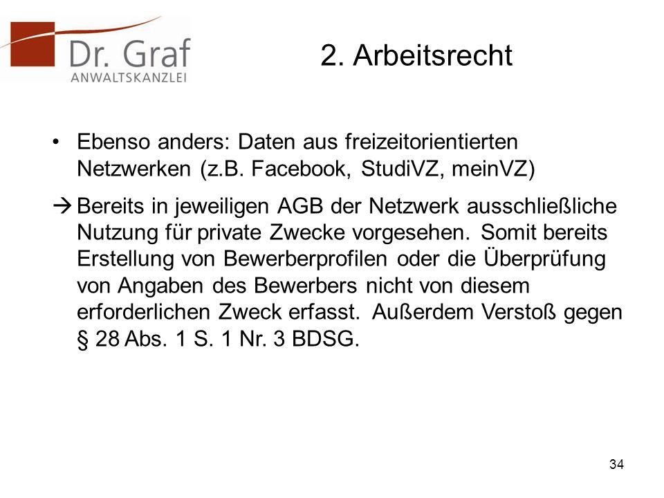 2. Arbeitsrecht Ebenso anders: Daten aus freizeitorientierten Netzwerken (z.B. Facebook, StudiVZ, meinVZ)
