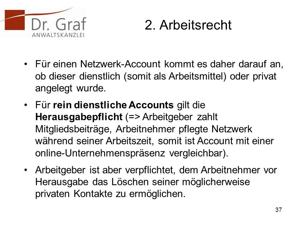 2. Arbeitsrecht Für einen Netzwerk-Account kommt es daher darauf an, ob dieser dienstlich (somit als Arbeitsmittel) oder privat angelegt wurde.