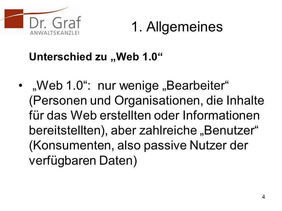 """1. Allgemeines Unterschied zu """"Web 1.0"""