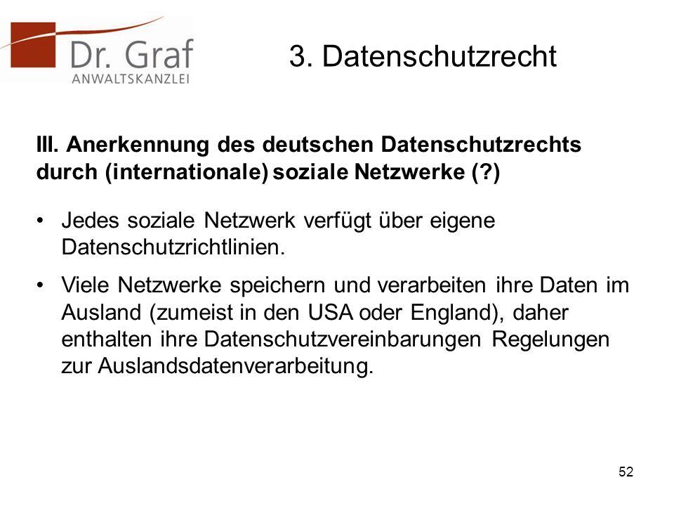3. Datenschutzrecht III. Anerkennung des deutschen Datenschutzrechts durch (internationale) soziale Netzwerke ( )