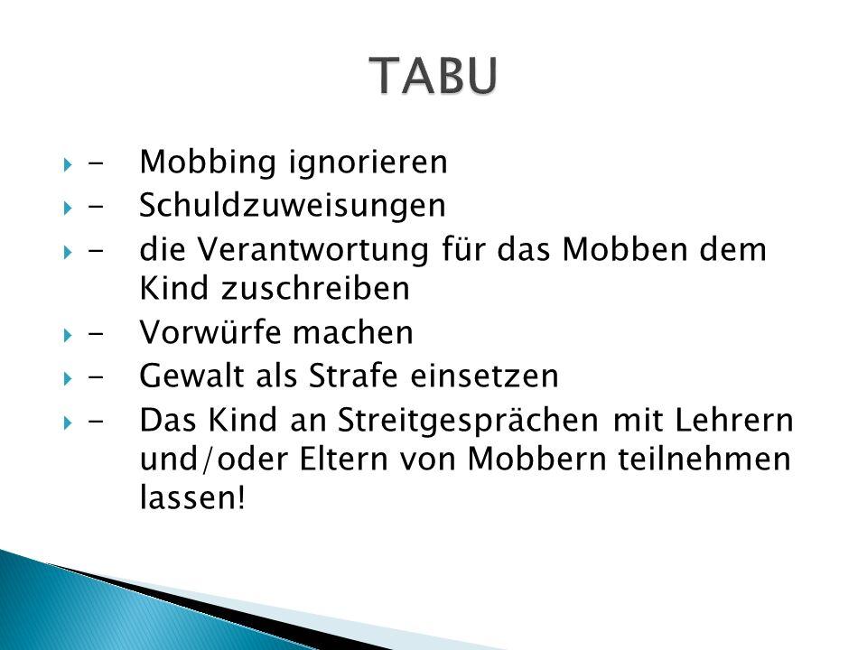 TABU - Mobbing ignorieren - Schuldzuweisungen