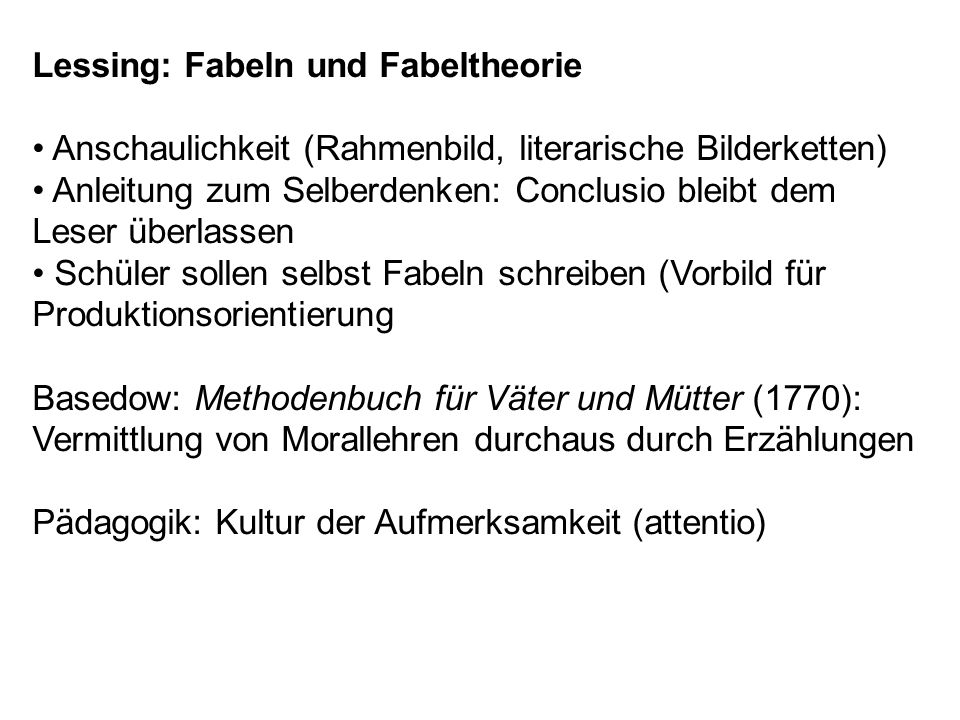 Lessing: Fabeln und Fabeltheorie