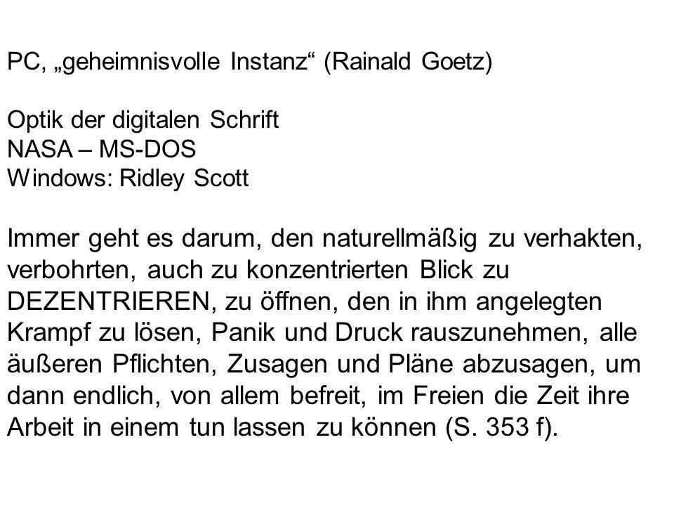 """PC, """"geheimnisvolle Instanz (Rainald Goetz)"""