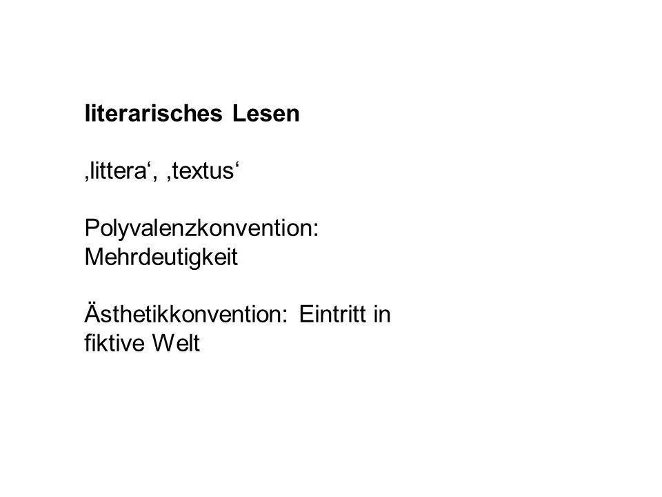literarisches Lesen 'littera', 'textus' Polyvalenzkonvention: Mehrdeutigkeit.