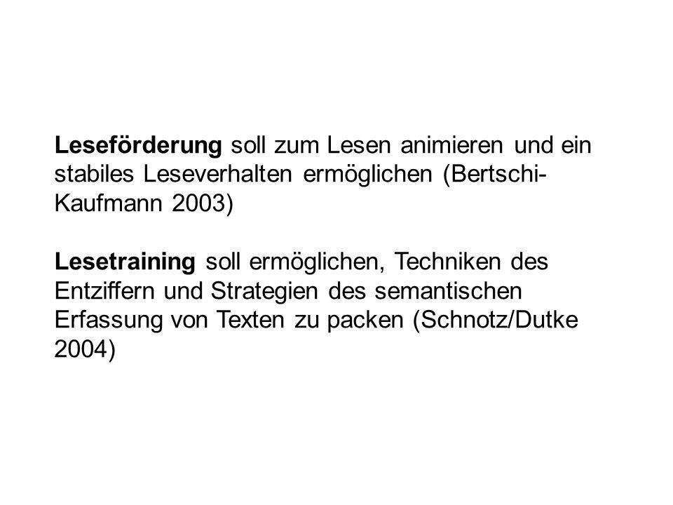 Leseförderung soll zum Lesen animieren und ein stabiles Leseverhalten ermöglichen (Bertschi-Kaufmann 2003)