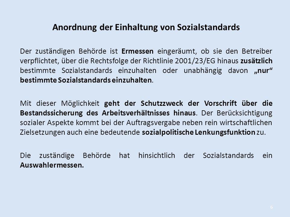 Anordnung der Einhaltung von Sozialstandards