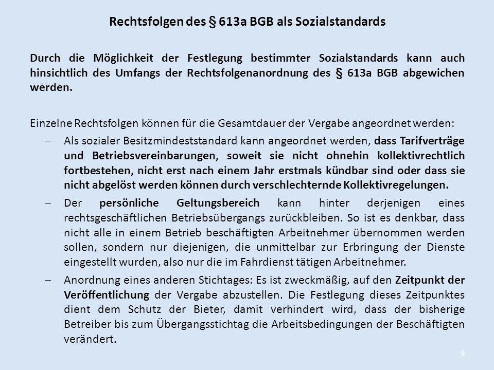 Rechtsfolgen des § 613a BGB als Sozialstandards