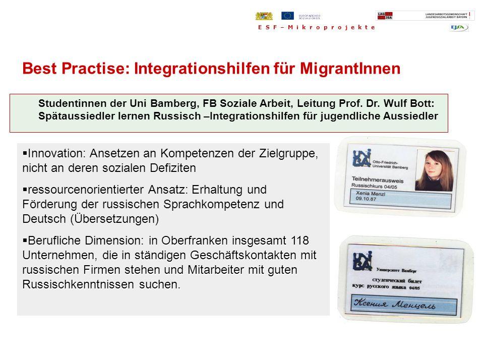 Best Practise: Integrationshilfen für MigrantInnen