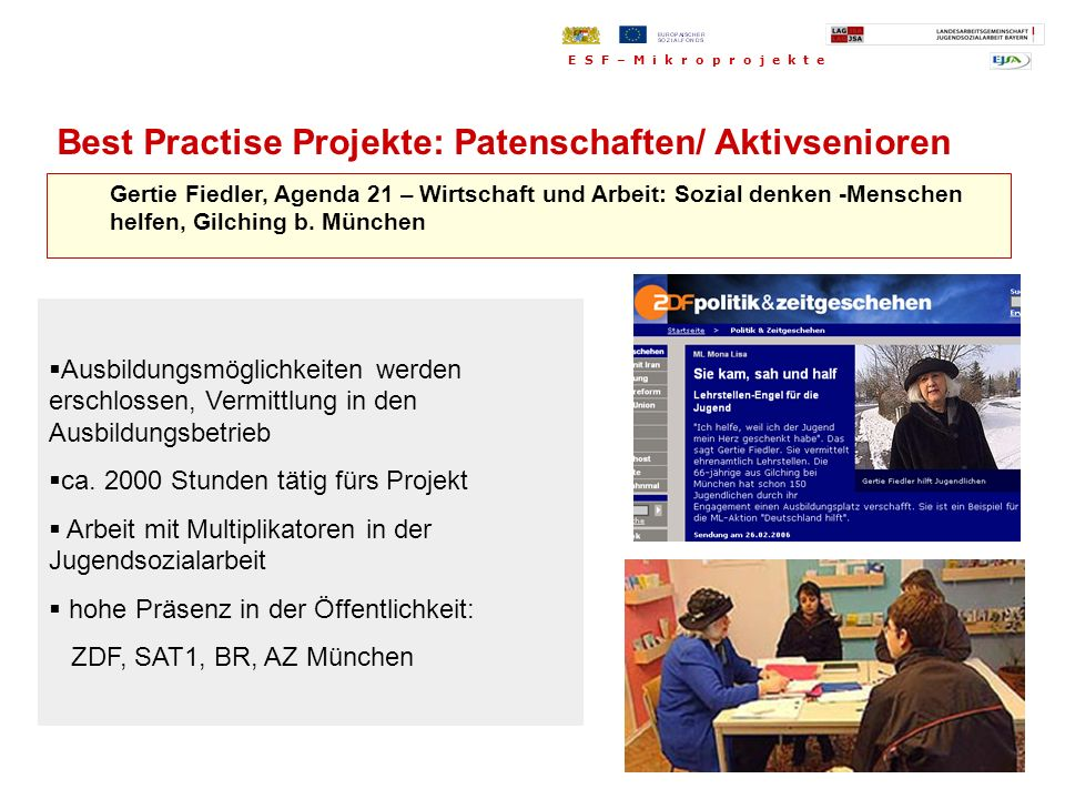 Best Practise Projekte: Patenschaften/ Aktivsenioren
