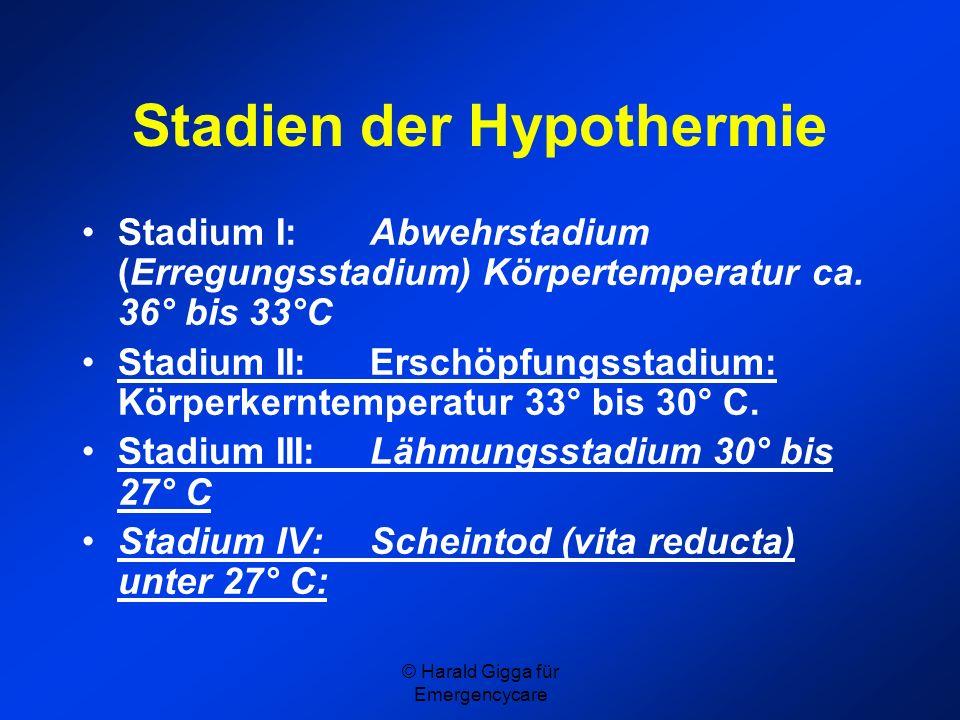 Stadien der Hypothermie