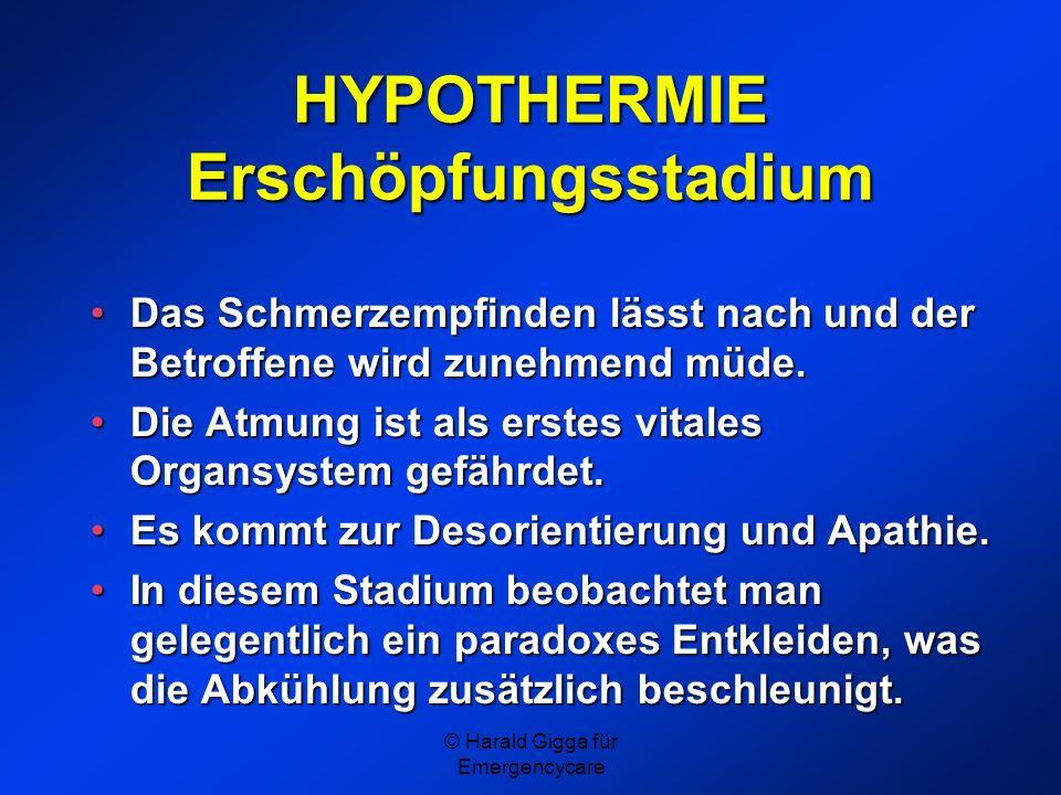 HYPOTHERMIE Erschöpfungsstadium
