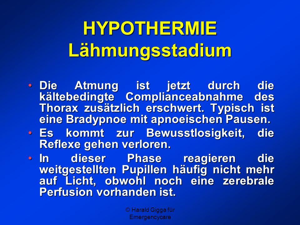 HYPOTHERMIE Lähmungsstadium