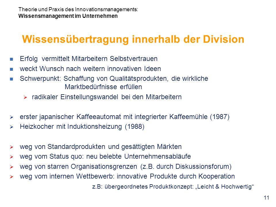 Wissensübertragung innerhalb der Division