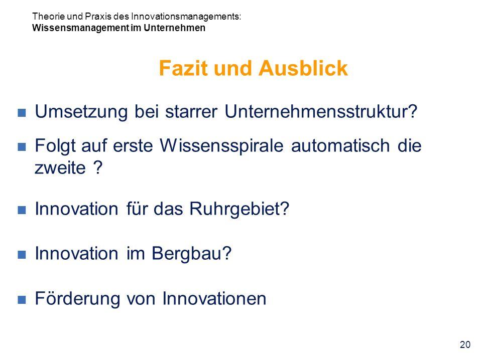 Fazit und Ausblick Umsetzung bei starrer Unternehmensstruktur