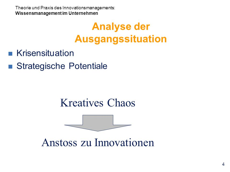 Analyse der Ausgangssituation