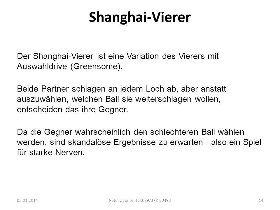 Shanghai-Vierer Der Shanghai-Vierer ist eine Variation des Vierers mit Auswahldrive (Greensome).