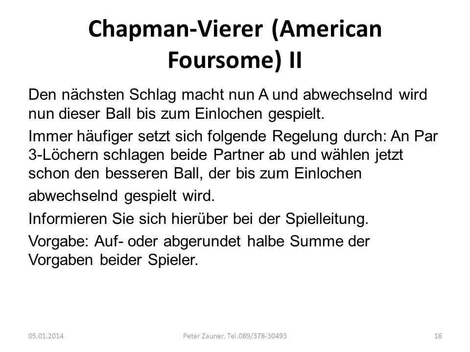 Chapman-Vierer (American Foursome) II