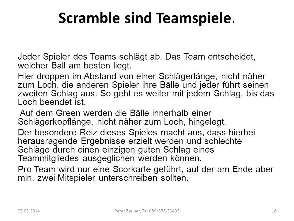 Scramble sind Teamspiele.