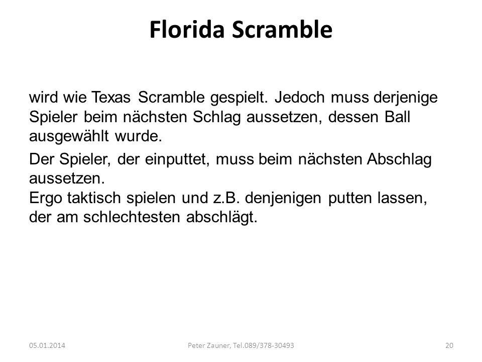 Florida Scramble wird wie Texas Scramble gespielt. Jedoch muss derjenige Spieler beim nächsten Schlag aussetzen, dessen Ball ausgewählt wurde.