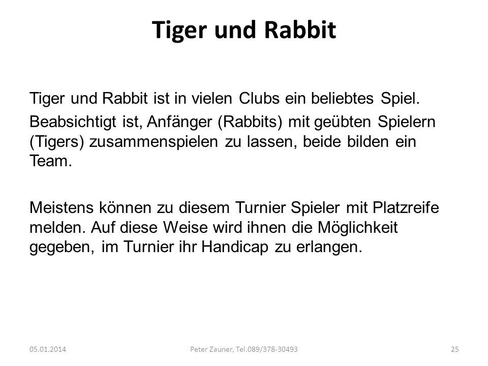 Tiger und RabbitTiger und Rabbit ist in vielen Clubs ein beliebtes Spiel.