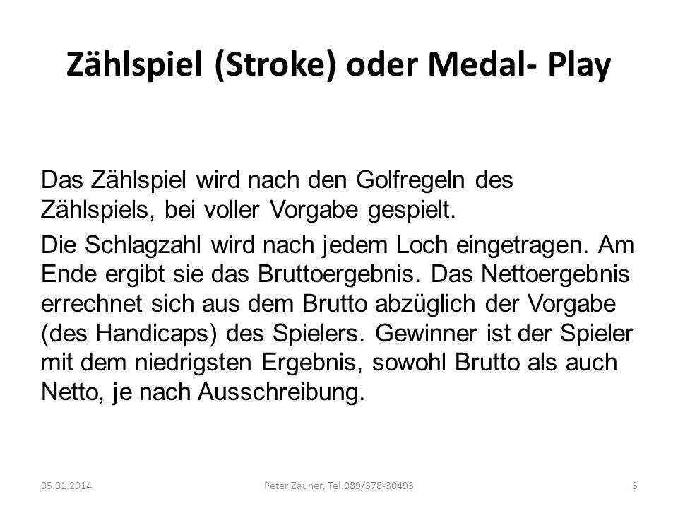 Zählspiel (Stroke) oder Medal- Play
