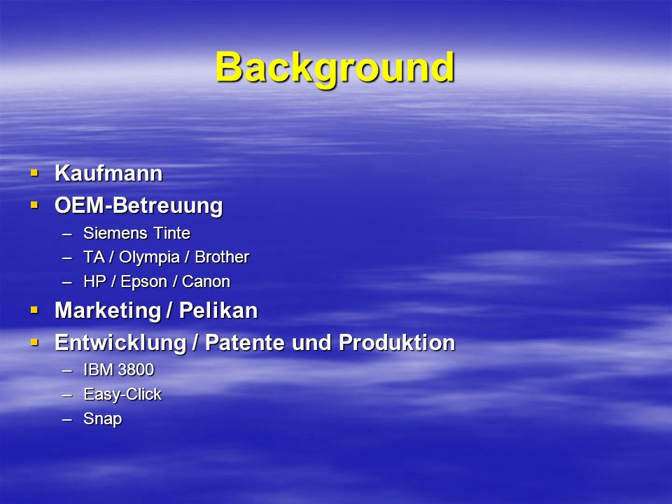 Background Kaufmann OEM-Betreuung Marketing / Pelikan