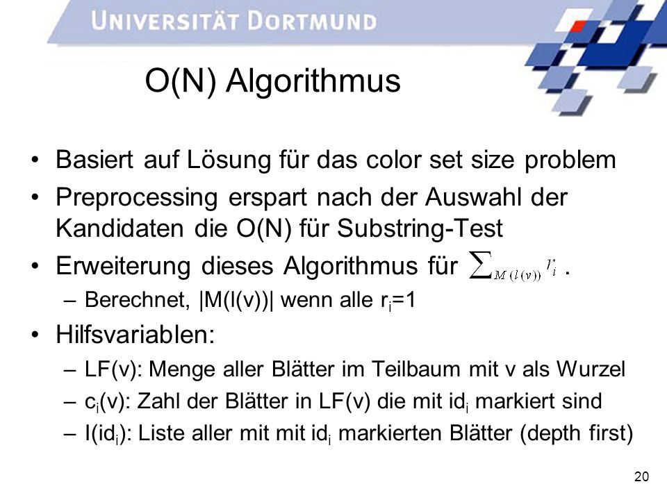 O(N) Algorithmus Basiert auf Lösung für das color set size problem