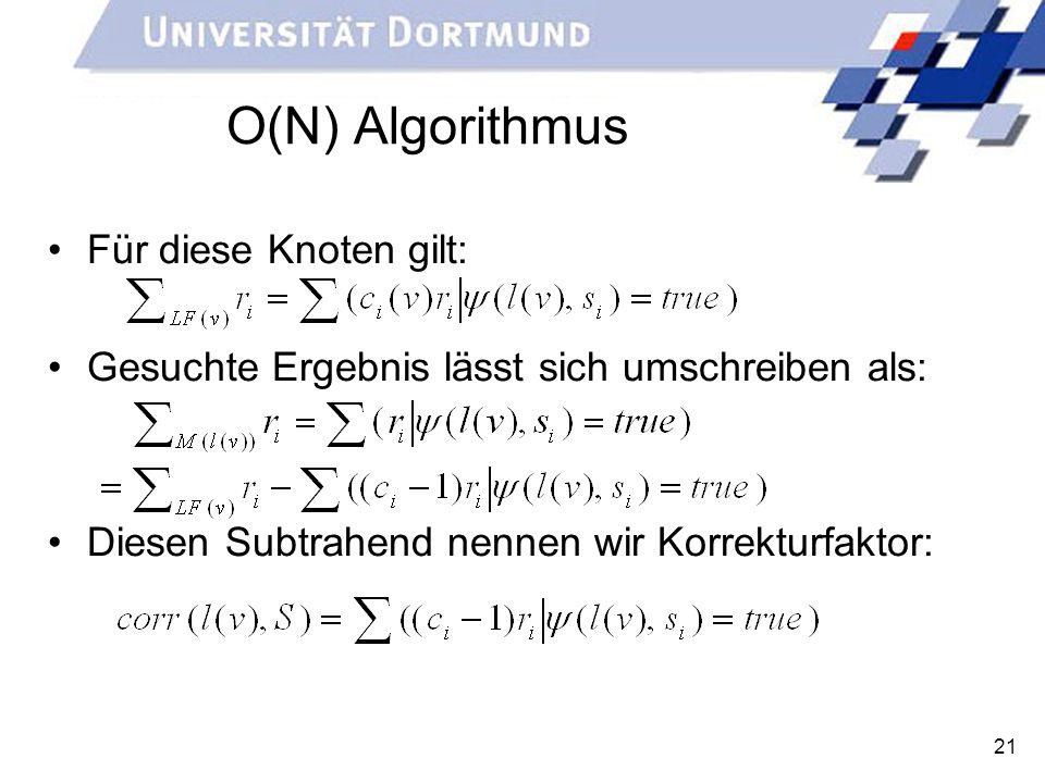 O(N) Algorithmus Für diese Knoten gilt: