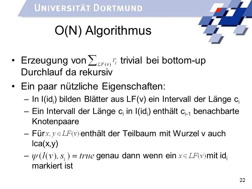 O(N) Algorithmus Erzeugung von trivial bei bottom-up Durchlauf da rekursiv. Ein paar nützliche Eigenschaften: